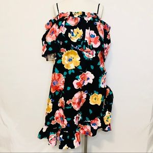 WHO WHAT WEAR WOMENS XL FLORAL DRESS RUFFLE BLACK